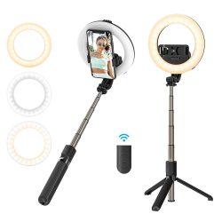 BlitzWolf® BW-BS8 Pro - Fülllicht Selfie Stick, Stativ, 5 Zoll Ringlicht