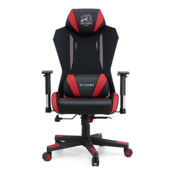 BlitzWolf® BW-GC6 Gaming Stuhl mit High-Density-Mesh, 150 ° Neigung, verstellbarer 2D-Armlehne, Kissenstütze, 250 kg Hält, erweitertes Kissen und Rücken