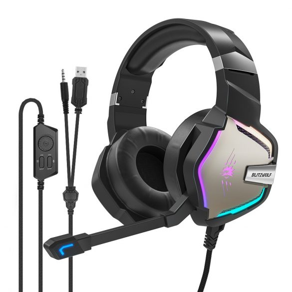 7.1 Surround-Gamer-Kopfhörer - BlitzWolf BW-GH1 Pro; RGB LED, Rauschunterdrückung, ergonomisches Design
