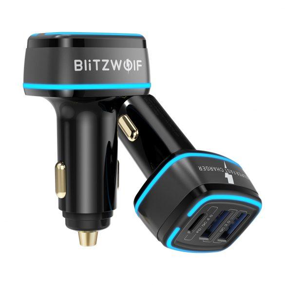 BlitzWolf® BW-SD7 Autoladegerät 30W  2xQC4.0 + 1x PD mit Schnellladetechnologie, LED-Beleuchtung