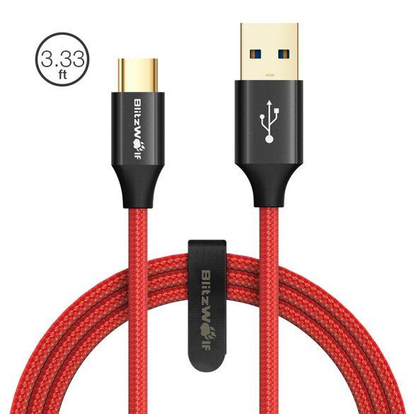 USB 3.0, 1 Meter, USB Typ C Kabel -BlitzWolf Ampcore BW-TC9 3A Typ C (Gold-Muster) Kabel Datenübertragung & Ladekabel mit Magic Tape Stra