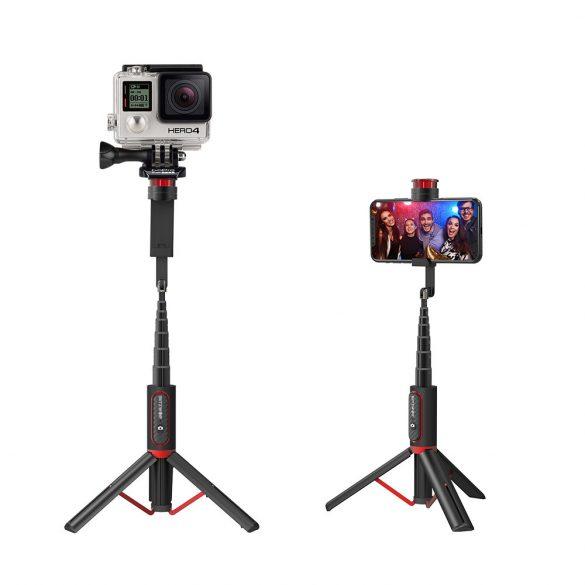 BlitzWolf® BW-BS10 sport - Tragbarer Selfie-Stick mit ausziehbarem Stativ, verdeckter Telefonklemme, bis zu 720 mm Länge, abnehmbare Fernbedienung