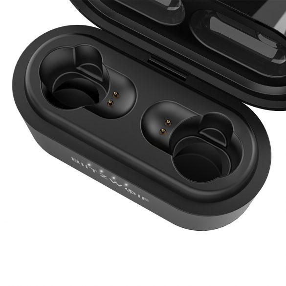 Bluetooth Kopfhörer, BlitzWolf Dynamic Dual-Treiber Bluetooth V5.0 TWS Wireless Drahtlose Sport Kopfhörer Ohrhörer Headset In Ear 3D-Stereo Sound mit Ladebox für iPhone Samsung Smartphone (Schwarz)