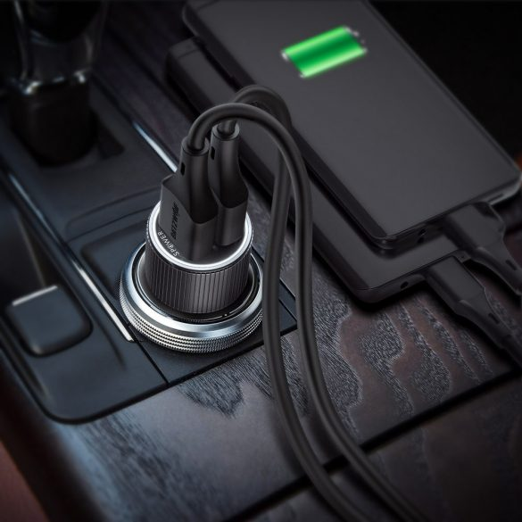 BlitzWolf® BW-SD2 30-W-USB-Autoladegerät mit zwei Ports, mit 1x QC3.0 und Power3S-Technologie - LED-Leuchten