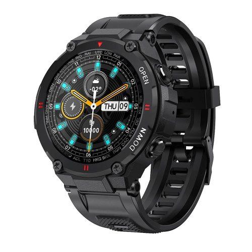 Blitzwolf® BW-AT2C (Schwarz) Smartwatch mit eingebautem Mikrofon und Lautsprecher mit unzähligen Aktivitätsmodusfunktionen