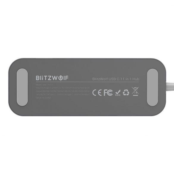 Blitzwolf BW-TH11 Hub 11 in einem: 2x HDMI-Anschluss, 100 W, USB 3.0, SD-Kartenleser, VGA, Buchse, LAN-Anschluss
