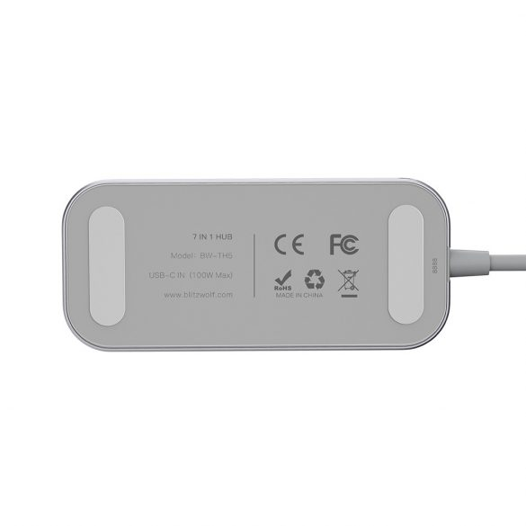 BlitzWolf® BW-TH5 7-in-1-USB-C-Datenhub mit 3-Port-USB-3.0-TF-Kartenleser, HDMI- und USB-C-PD-Aufladung