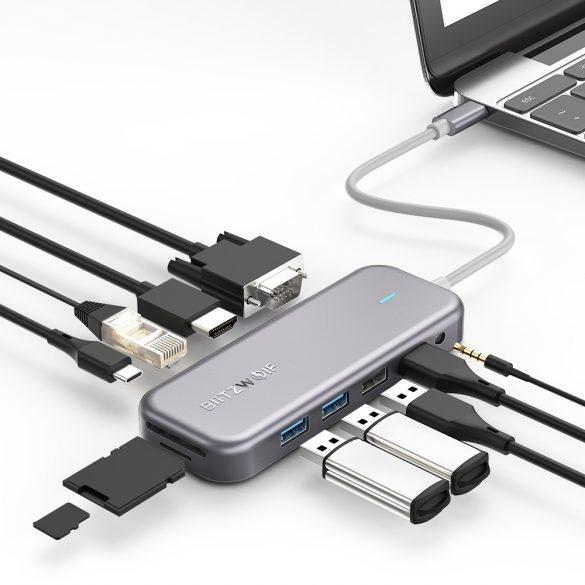 Blitzwolf BW-TH8 Hub 11 in einem: 100 W, USB 3.0-Anschluss, SD-Kartenleser, 4K HDMI, VGA, Buchse, LAN-Anschluss