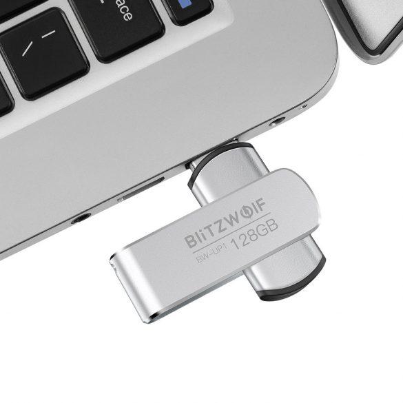 USB 3.0 Stick - BlitzWolf® BW-UP1 - 128 GB Memory Stick Aluminium Speicherstick USB Flash-Laufwerk bis zu MB/s mit LED-Anzeig für Studenten, Büroangestellte (Silber)