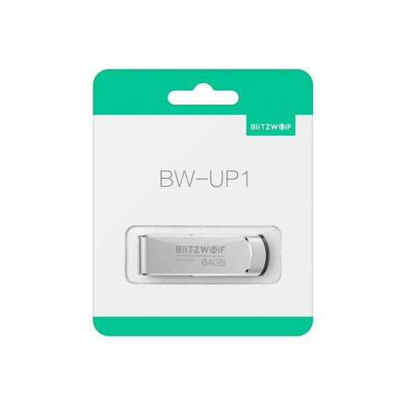 USB 3.0 Stick - BlitzWolf® BW-UP1 - 64 GB Memory Stick Aluminium Speicherstick USB Flash-Laufwerk bis zu MB/s mit LED-Anzeig für Studenten, Büroangestellte (Silber)