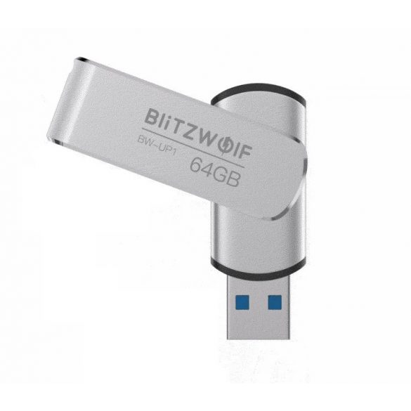 USB 3.0 Stick - BlitzWolf® BW-UP1 - 64 GB Memory Stick Aluminium Speicherstick USB Flash-Laufwerk bis zu MB/s mit LED-Anzeig für Studenten, Büroangestellte (Silber)
