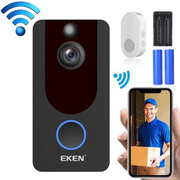EKEN V7 1080P -Wifi Smart Video-Gegensprechanlage mit App-Steuerung + Akku + Innenklingel