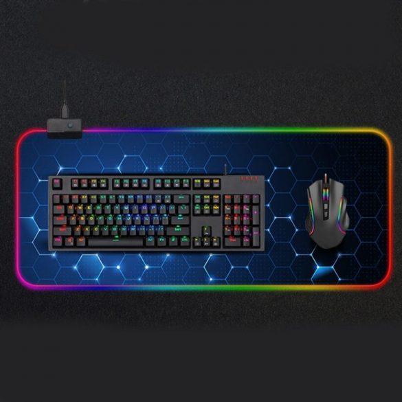 Wasserdichtes beleuchtetes RGB-Mauspad - mit 14 verschiedenen Lichteffekten, Größe: 800 x 300 x 4 mm (Wabe)