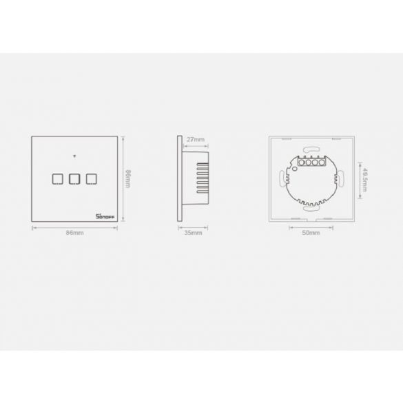 Sonoff® T0 Smart Wall Switch - kann in Google Home, Amazon Echo und IFTTT integriert werden