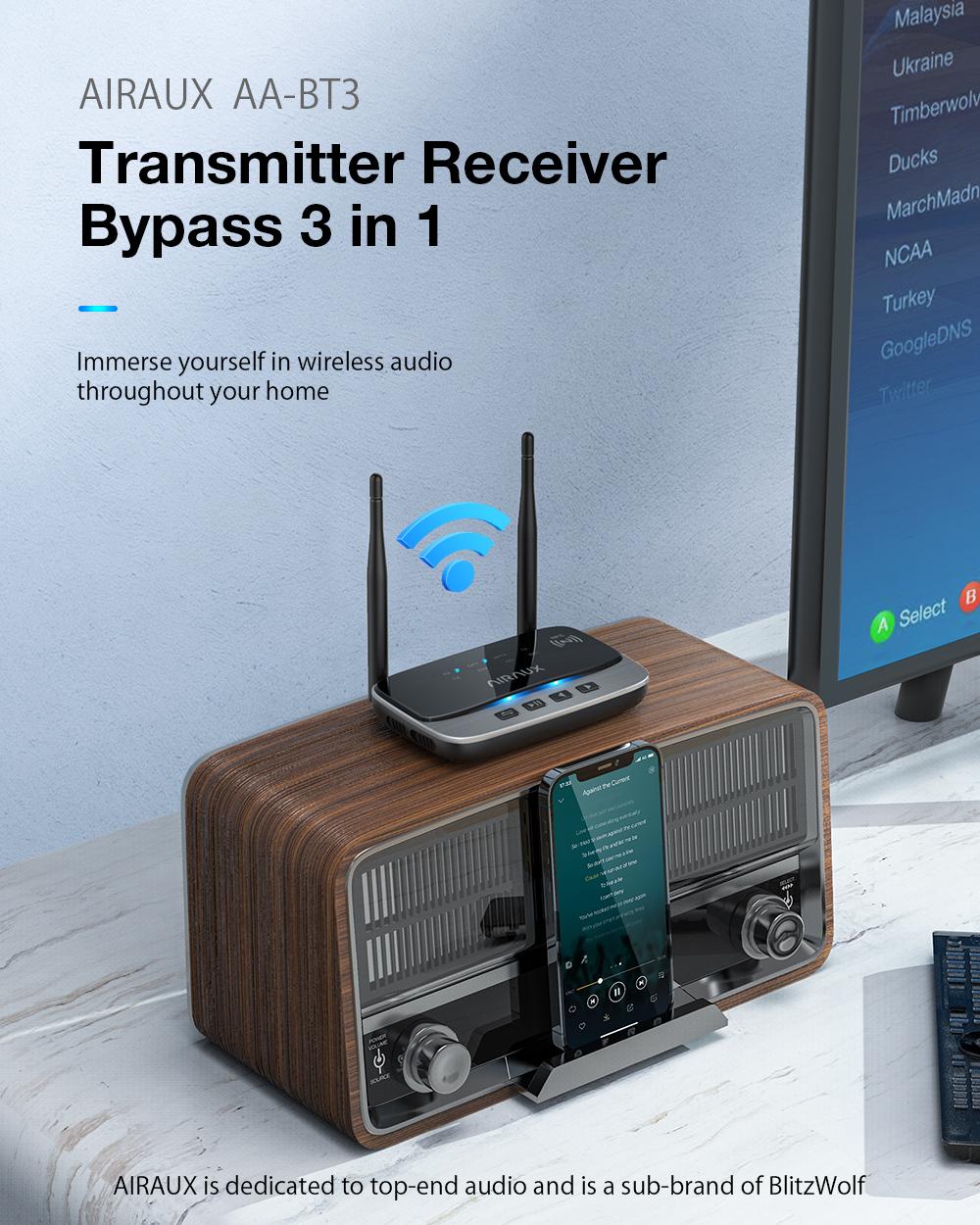 BlitzWolf® AIRAUX AA-BT3 Bluetooth fogadó és küldő egység