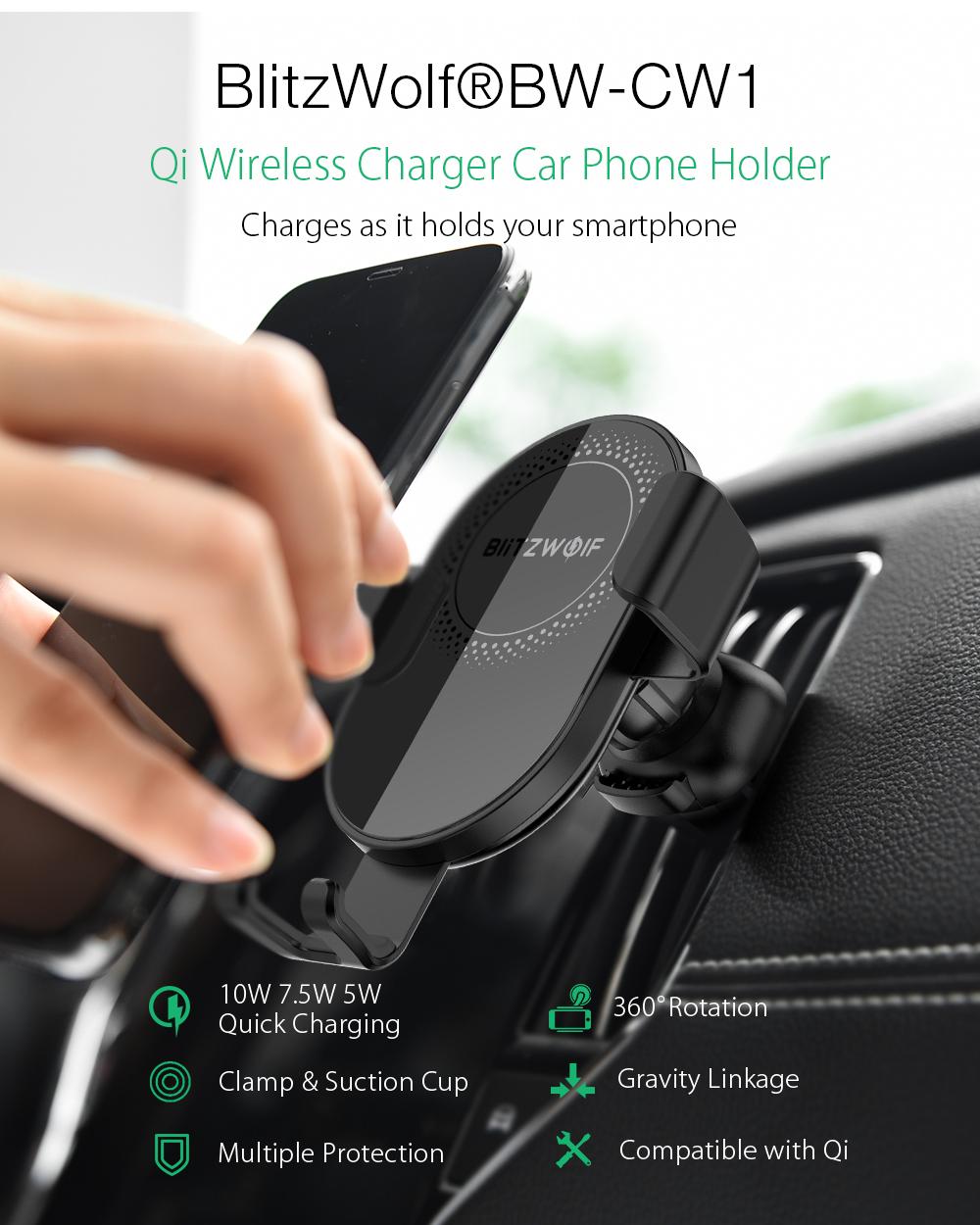 BlitzWolf BW-CW1 Autós telefontartó és vezetéknélküli telefon töltő