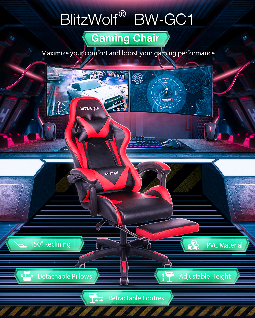 Blitzwolf BW-GC1 gamer szék - gaming chair