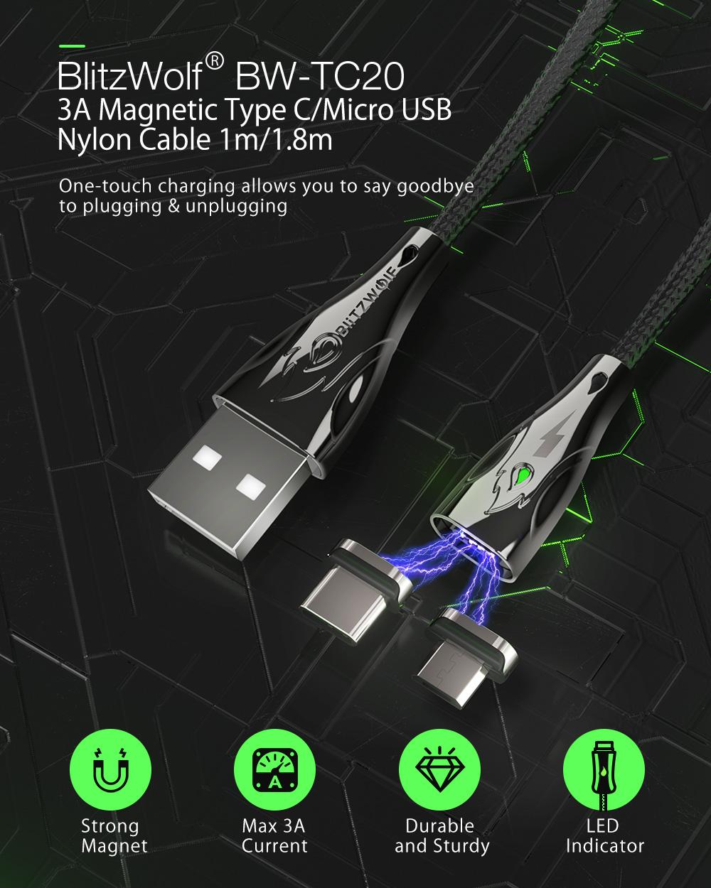 Blitzwolf BW-TC20 Type C kábel mágneses, levető fejű USB kábel