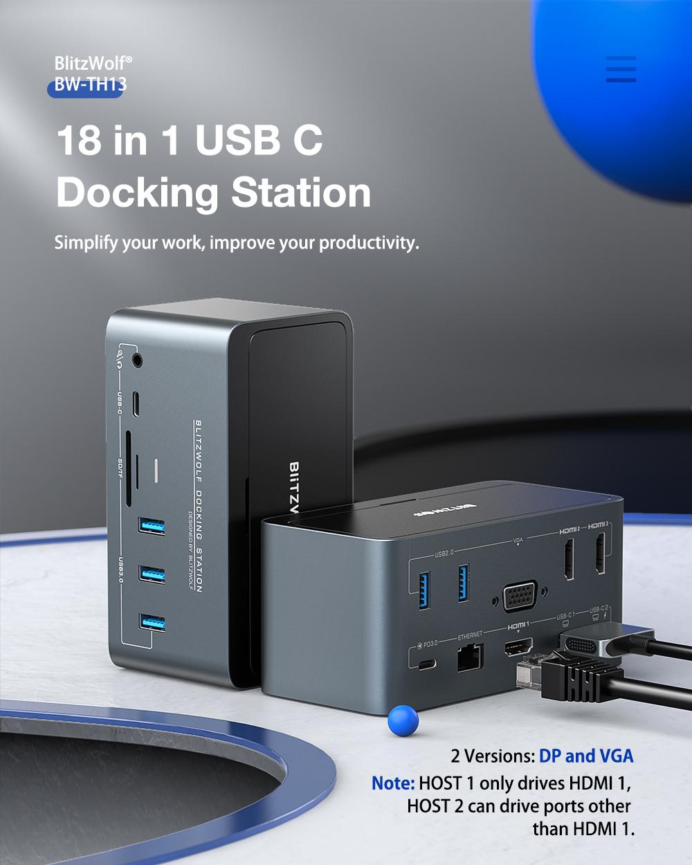 Blitzwolf BW-TH13 docking station, USB HUB