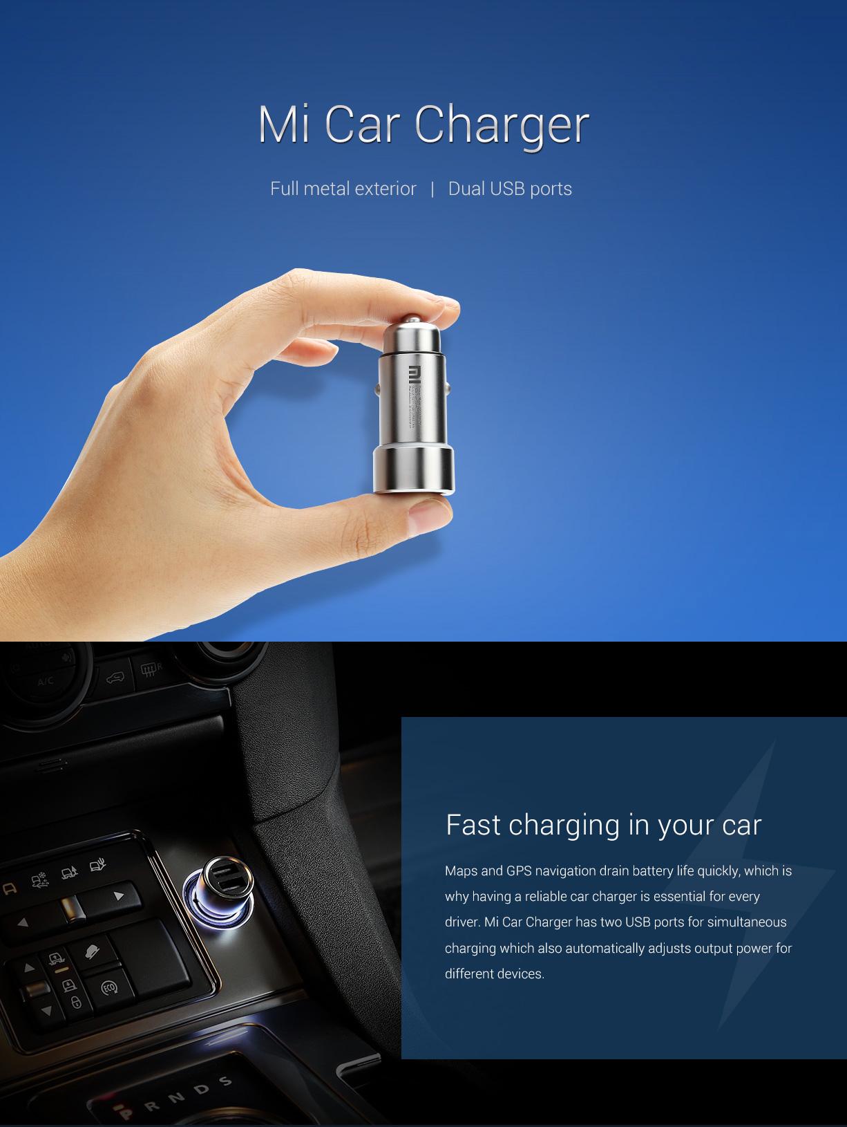 Xiaomi fém autós USB töltő