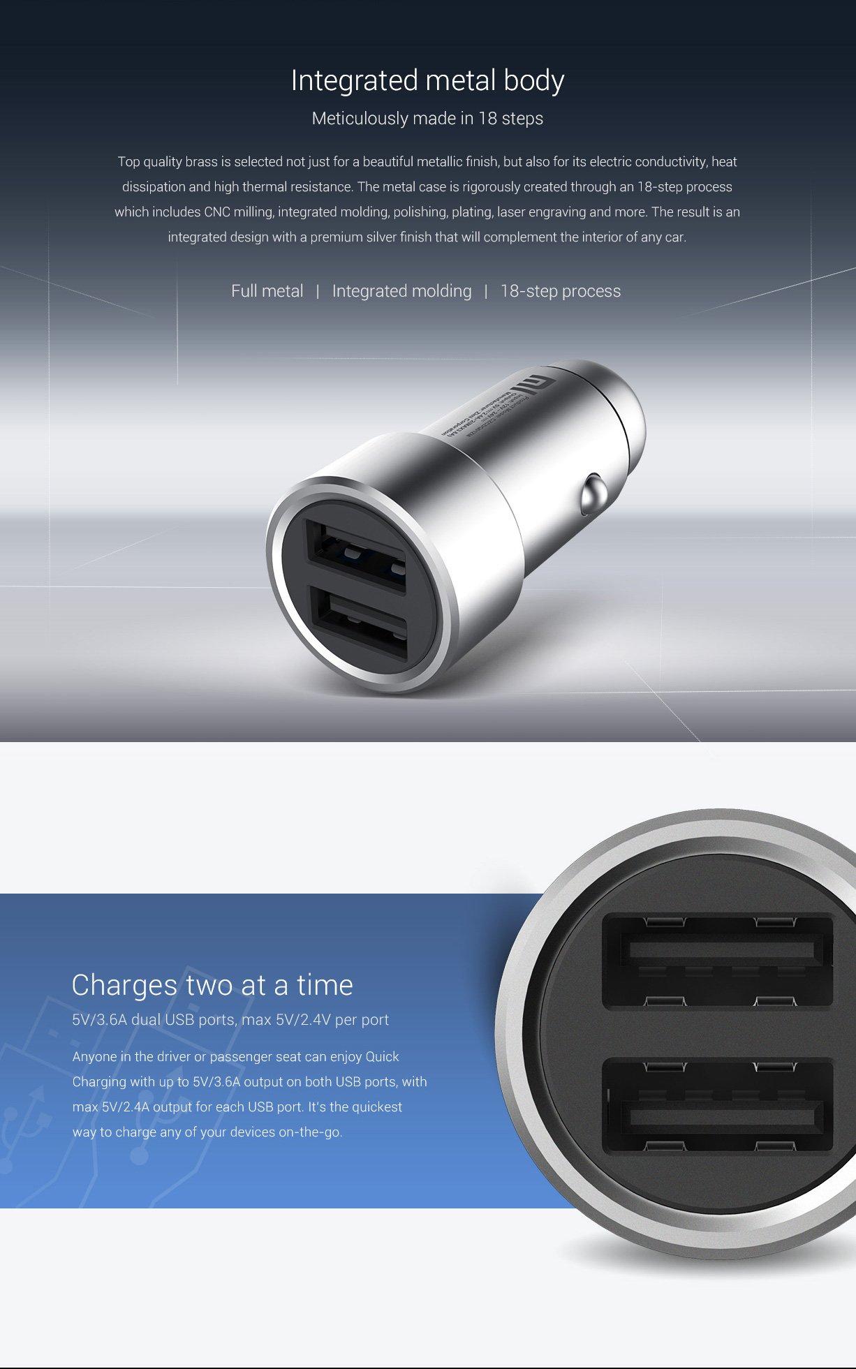 Xiaomi szivargyújtóba dugható, fém autós USB töltő